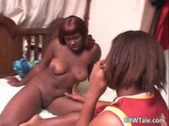 Great ebony threesome with a chubby