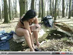 German amateur brunette fucked in forest