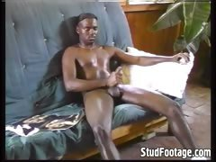 Sexy black man masturbates so hard