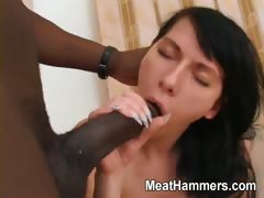 Horny hick takes a big cock in her twat