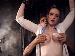 Big tits hottie Catherine bound and pleasured by her master