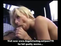 Adorable gorgeous sexy blonde girl with small tits doing blowjob