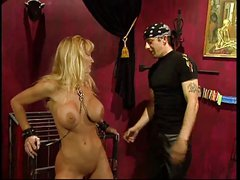Big tits blonde slave bound for fun by a guy
