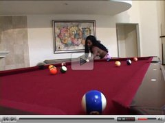 Hardcore black fuck on a pool table