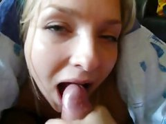 Amateur Blonde Sucks Cock and Eats Cum