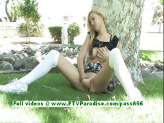 Alexa amazing blonde woman fingering pussy outdoor