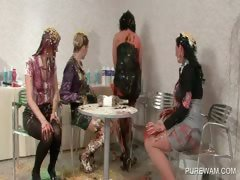 Messy paint dripping of a round ass in lesbo orgy