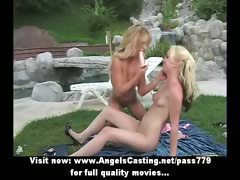 Gorgeous blonde lesbian girls licked pussy and sucking in nature