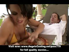Innocent sexy brunette babe doing blowjob and fucking with the pizza man