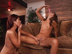 Lesbian threesome indoors with redhead brunette and tattoed chubby blond MILF