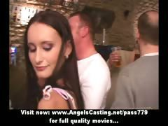 Unplanned orgy with hot girls undressing and giving blowjob in bar
