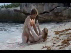 lovely art sex of horny couple on beach