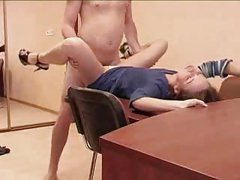 Sexy Skinny girl gets fucked bent over and on a table