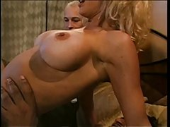 Hot married blonde with enormous tits sucks black guy off then fucks