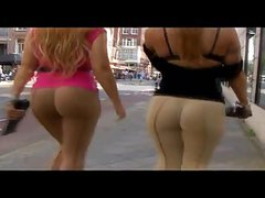 Two Girls with BIG butts teasing on public