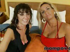 two milfs fuck in a threesome