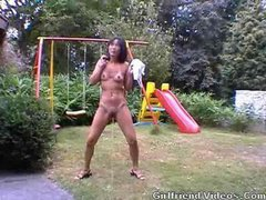 Asian Babe Peeing In The Yard