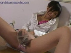 Horny Asian Slut Masturbating With Machine in Nylons