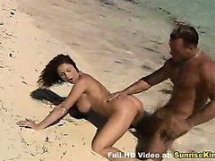 Sexy babe with big tits beach blowjob sex and cum