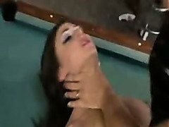Black latex Jessica Jaymes fucks on a pool table