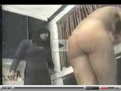 Brunette teen gets caned in the kitchen