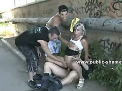 Hot blonde slut in public disgrace sex outdoor punished with deepthroat banging and spanking