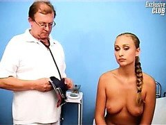Blonde Valerie gyno fetish speculum pussy examination at kinky gyno clinic