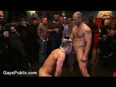 Huge dick gay gangbang fucked and flogged in public bar