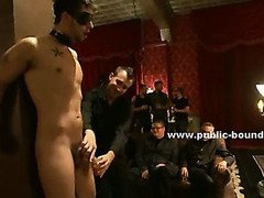 Gay hunk throat fucked deep in brutal blowjob sex and incredible gangbang in a public club sex