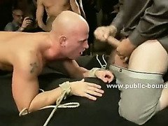 Shaved strong gay in leather leish walked and fucked deep in his mouth in nasty group sex