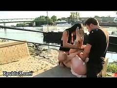 Tied up babe gangbanged in dock at daylight