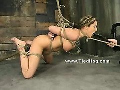 Beautifull dirty slut falls in the hands of kinky man tied like a hog in bondage sex video