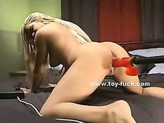 Teen blonde babe with perky nipples riding clitoris toy then getting fucked by fucking machines