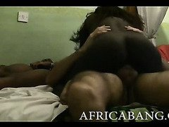 Two naughty African amateurs take long white cock in their pussies