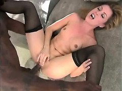 Skinny blonde babe takes black cock for the pleasure