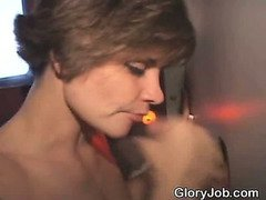 Short Haired Amateur Brunette Slurps At Glory Hole
