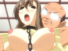 Chained hentai with bigboobed deep poking from behind