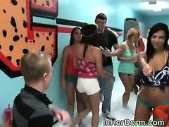 College Girls Dance And Strip In Dorm Hallway Full Of Suds