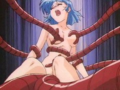 Hentai girl tied up in a gynaecological chair and robot tentacles fucked