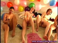 Vibrator time at amateur all girl sex party