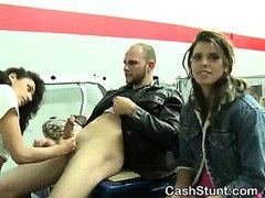 Brunette Flashes Pussy And Sucks Dick In Stunt