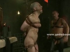 Sexy gay hunk hanged from the upper floor and tortured in bdsm fetish sex naked and easy prey