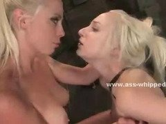 Lesbo mistresses have fun torturing bound sex slave fucking her hard and watching her scream