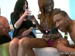 Wild girls at a bachelorette party eat whipcream of strippers dick