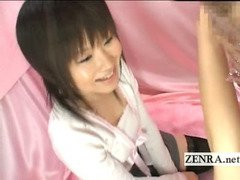 Strange bizarre Japanese CFNM blowjob with shy amateur