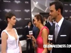 Celeb anne hathaway pokers at the dark knight premiere
