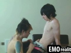 Hot emo twinks with piercings and tattoos undress and suck dick