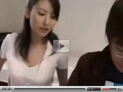Asian Teacher and her Pupil do the Homework (censored)