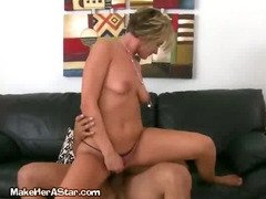 Blonde Rides Her Lover On The Couch
