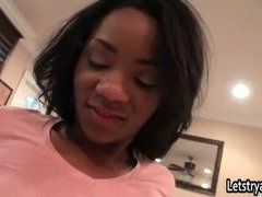 Horny teenage ebony gets her nice